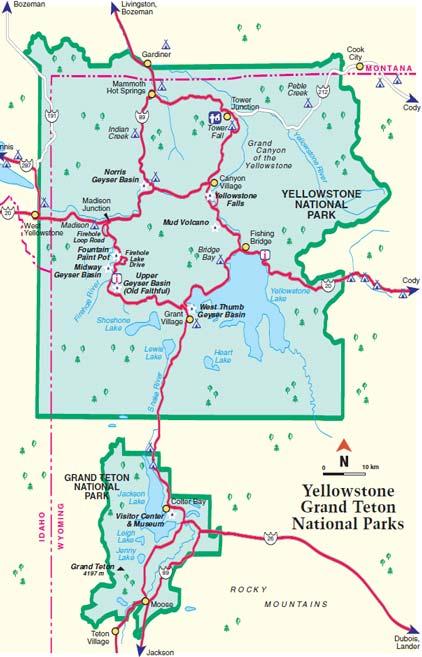 Йеллоустонский национальный парк карта