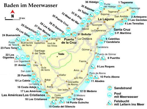 Mallorca Karte Strände.Teneriffa Strandführer
